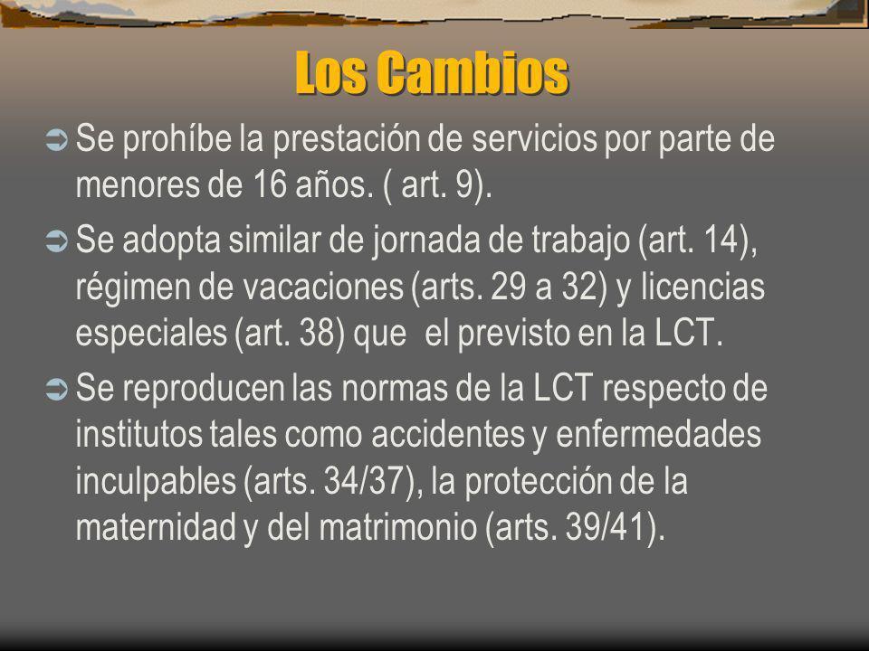 Los Cambios Se prohíbe la prestación de servicios por parte de menores de 16 años. ( art. 9). Se adopta similar de jornada de trabajo (art. 14), régim