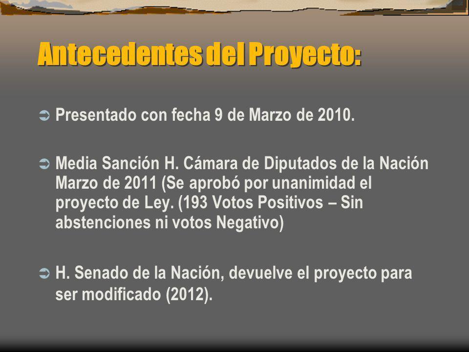 Antecedentes del Proyecto: Presentado con fecha 9 de Marzo de 2010. Media Sanción H. Cámara de Diputados de la Nación Marzo de 2011 (Se aprobó por una