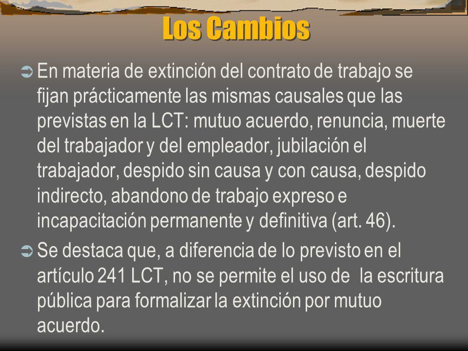 Los Cambios En materia de extinción del contrato de trabajo se fijan prácticamente las mismas causales que las previstas en la LCT: mutuo acuerdo, ren