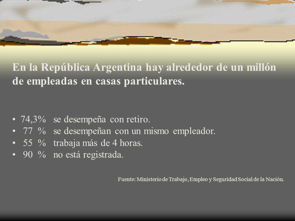 En la República Argentina hay alrededor de un millón de empleadas en casas particulares. 74,3% se desempeña con retiro. 77 % se desempeñan con un mism