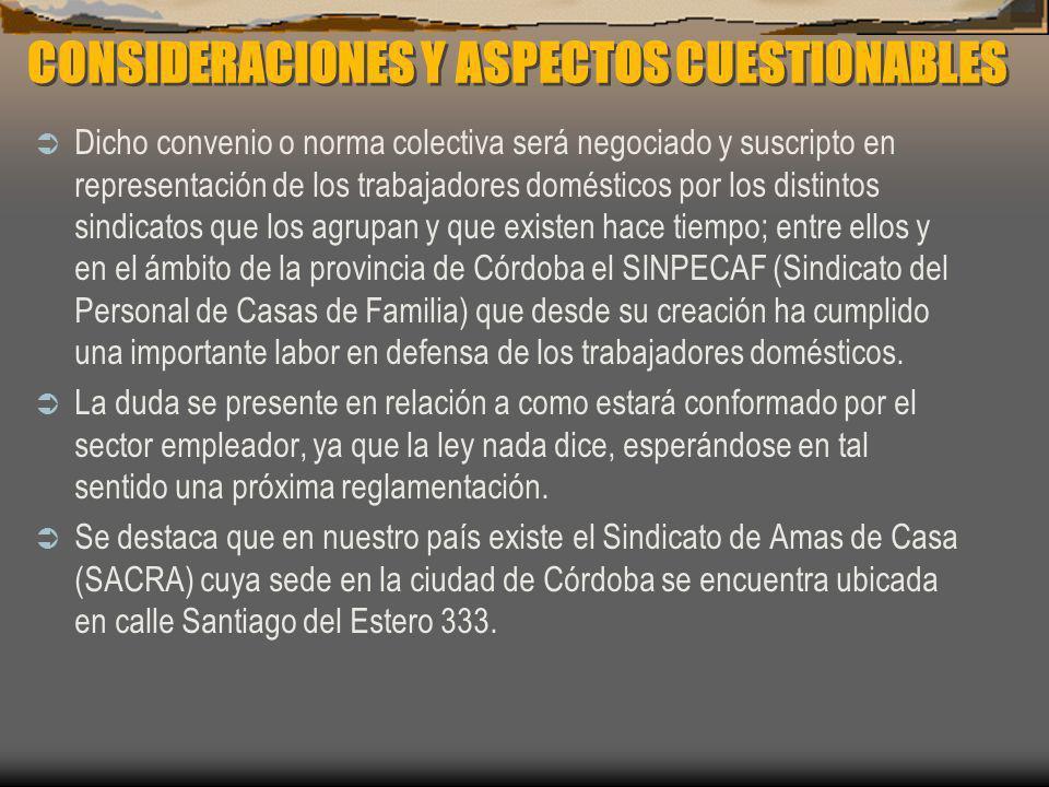 CONSIDERACIONES Y ASPECTOS CUESTIONABLES Dicho convenio o norma colectiva será negociado y suscripto en representación de los trabajadores domésticos