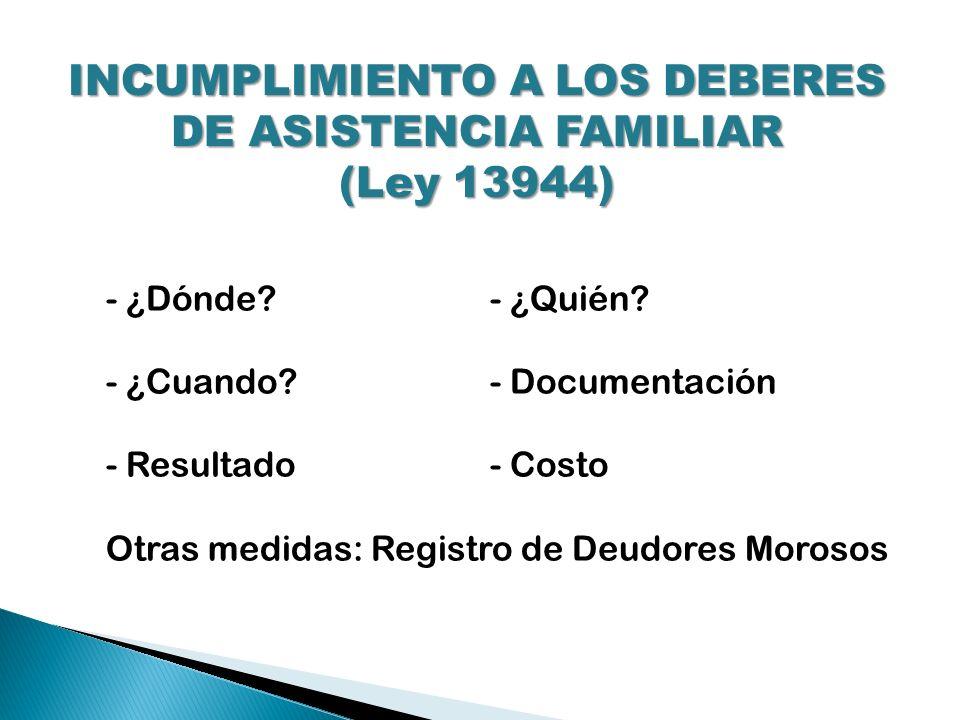 INCUMPLIMIENTO A LOS DEBERES DE ASISTENCIA FAMILIAR (Ley 13944) - ¿Dónde?- ¿Quién? - ¿Cuando?- Documentación - Resultado- Costo Otras medidas: Registr