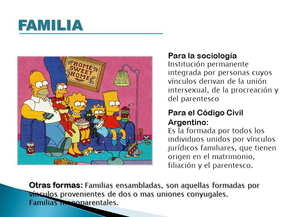 FAMILIA Para la sociología Institución permanente integrada por personas cuyos vínculos derivan de la unión intersexual, de la procreación y del paren