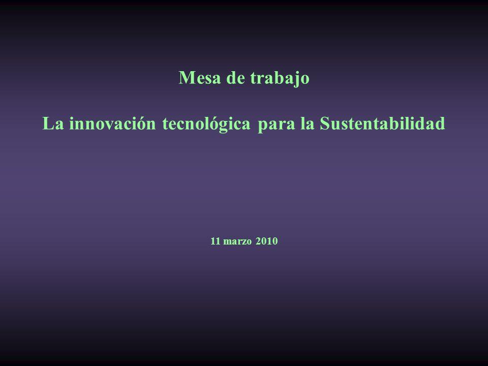 Mesa de trabajo La innovación tecnológica para la Sustentabilidad 11 marzo 2010