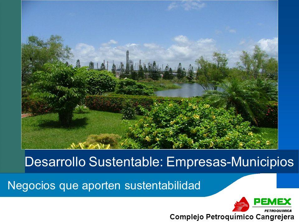 Complejo Petroquímico Cangrejera En Pemex Petroquímica nos comprometemos a continuar con la protección y el mejoramiento del medio ambiente en beneficio de la comunidad ONTENIDO: c c SUBSISTEMA DE ECOSISTEMAS SUSTENTABILIDAD: AQUÍ Y AHORA Reflexión inicial sobre Sustentabilidad Enfoque Binomio Empresas - Municipios Propuestas de Negocios y/o Proyectos de Impacto a la Sustentabilidad en la Región