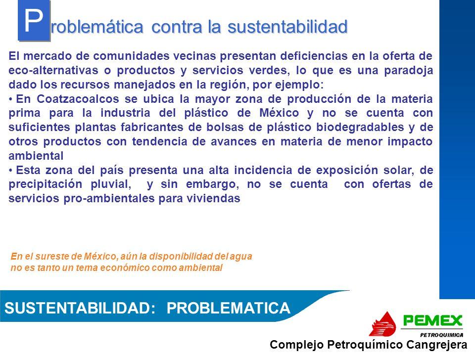 Complejo Petroquímico Cangrejera En el sureste de México, aún la disponibilidad del agua no es tanto un tema económico como ambiental roblemática cont