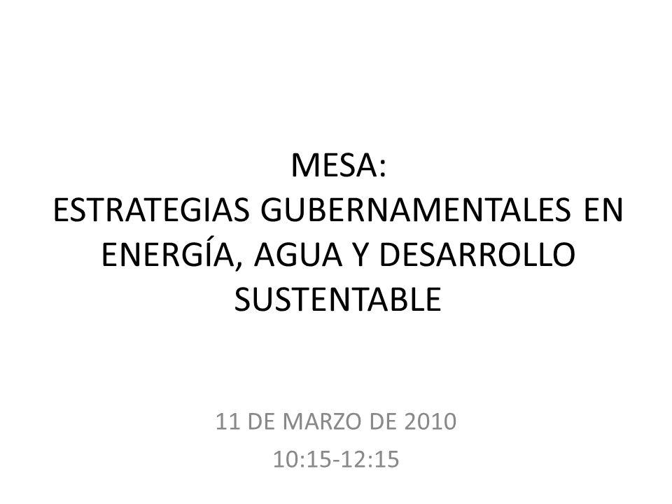 MESA: ESTRATEGIAS GUBERNAMENTALES EN ENERGÍA, AGUA Y DESARROLLO SUSTENTABLE 11 DE MARZO DE 2010 10:15-12:15