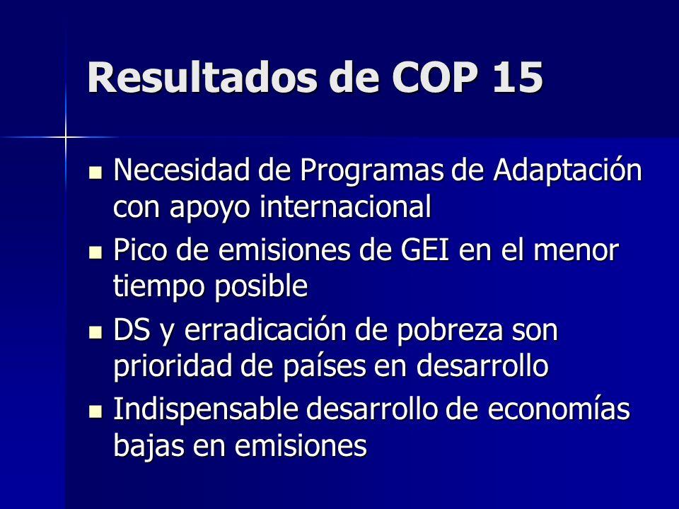 Resultados de COP 15 Necesidad de Programas de Adaptación con apoyo internacional Necesidad de Programas de Adaptación con apoyo internacional Pico de