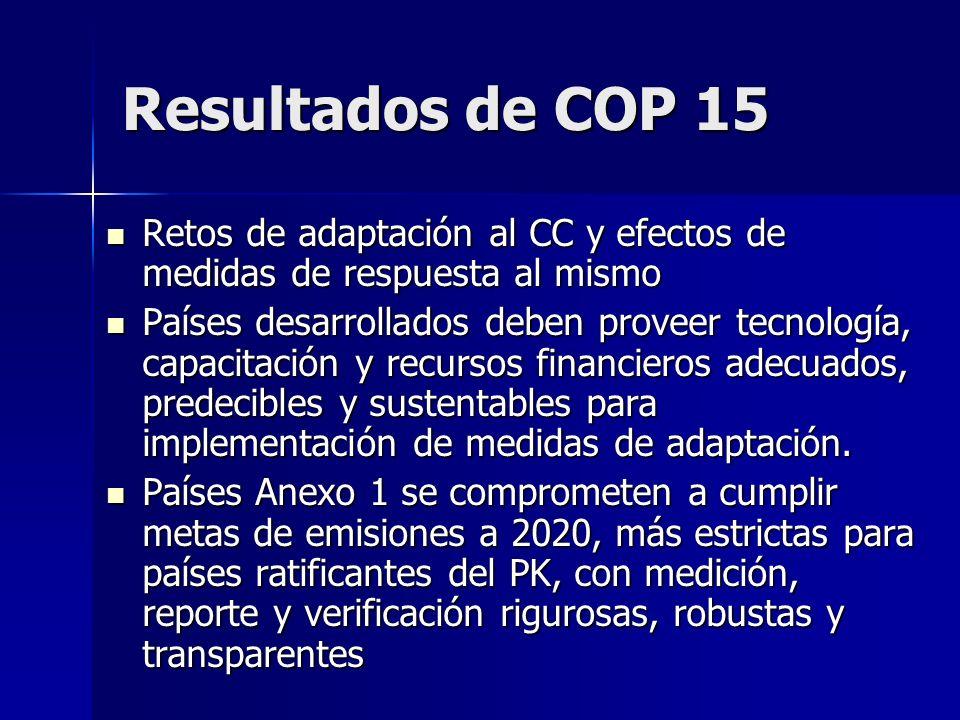 Resultados de COP 15 Retos de adaptación al CC y efectos de medidas de respuesta al mismo Retos de adaptación al CC y efectos de medidas de respuesta