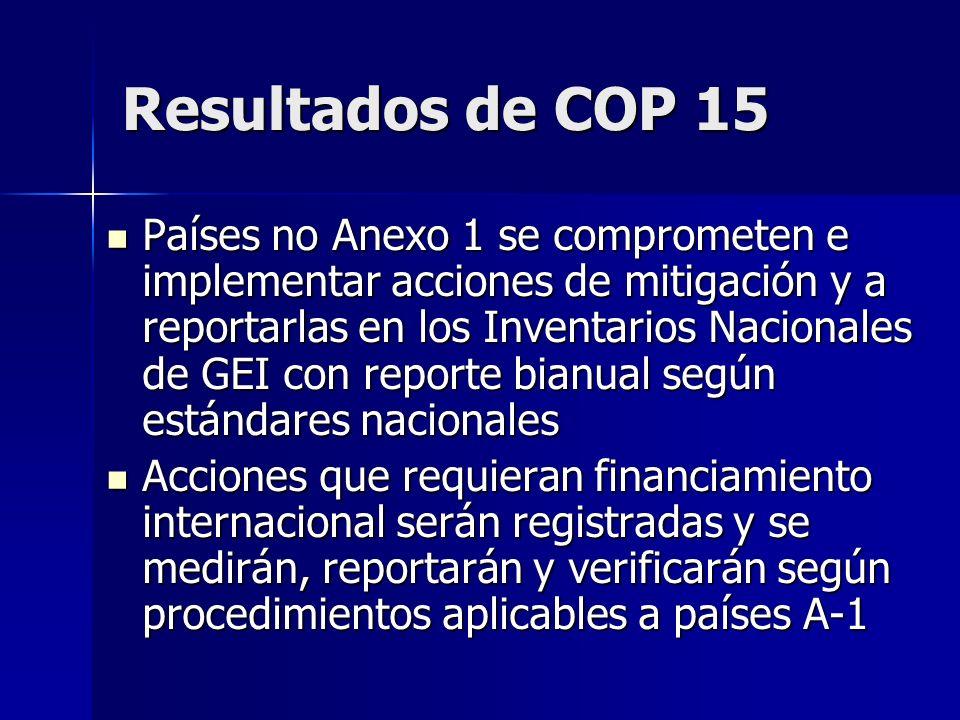 Resultados de COP 15 Países no Anexo 1 se comprometen e implementar acciones de mitigación y a reportarlas en los Inventarios Nacionales de GEI con re