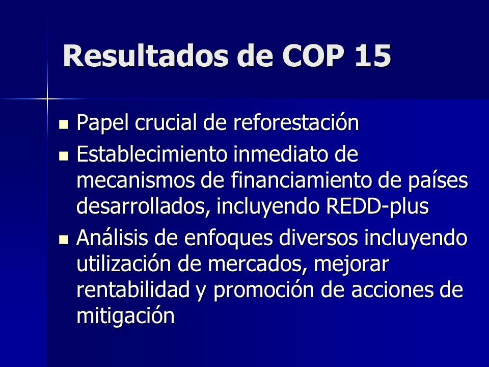 Resultados de COP 15 Papel crucial de reforestación Papel crucial de reforestación Establecimiento inmediato de mecanismos de financiamiento de países