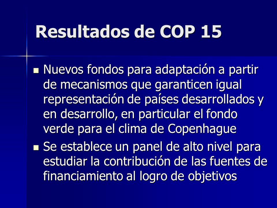 Resultados de COP 15 Nuevos fondos para adaptación a partir de mecanismos que garanticen igual representación de países desarrollados y en desarrollo,