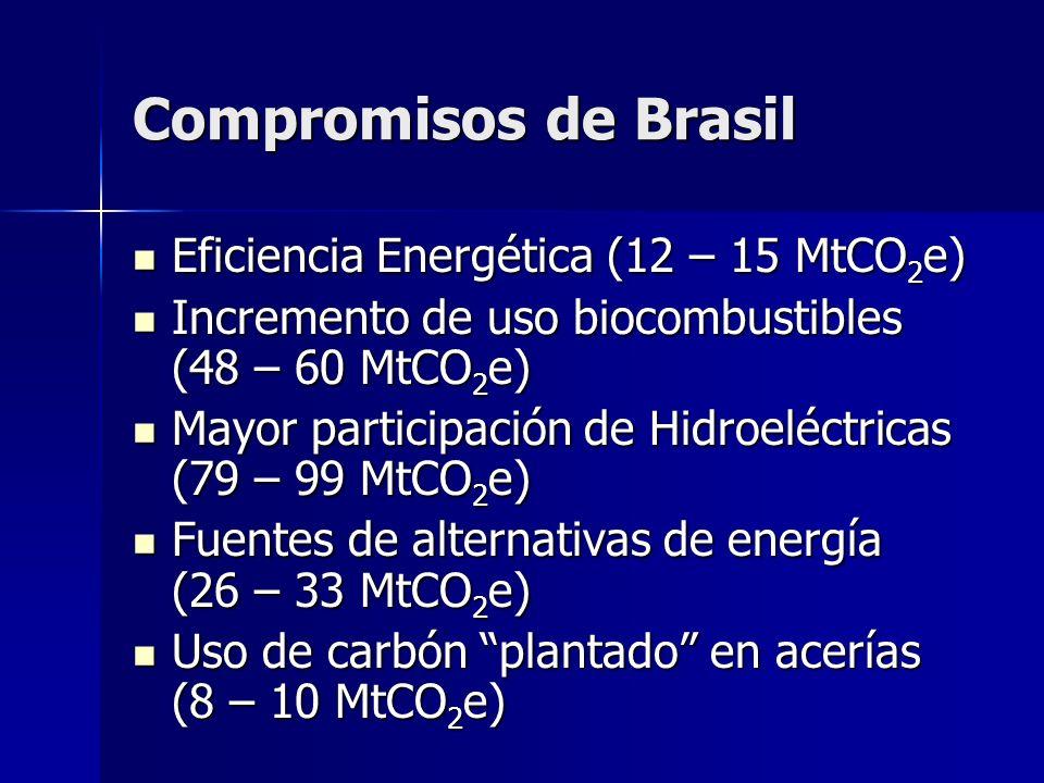 Compromisos de Brasil Eficiencia Energética (12 – 15 MtCO 2 e) Eficiencia Energética (12 – 15 MtCO 2 e) Incremento de uso biocombustibles (48 – 60 MtC