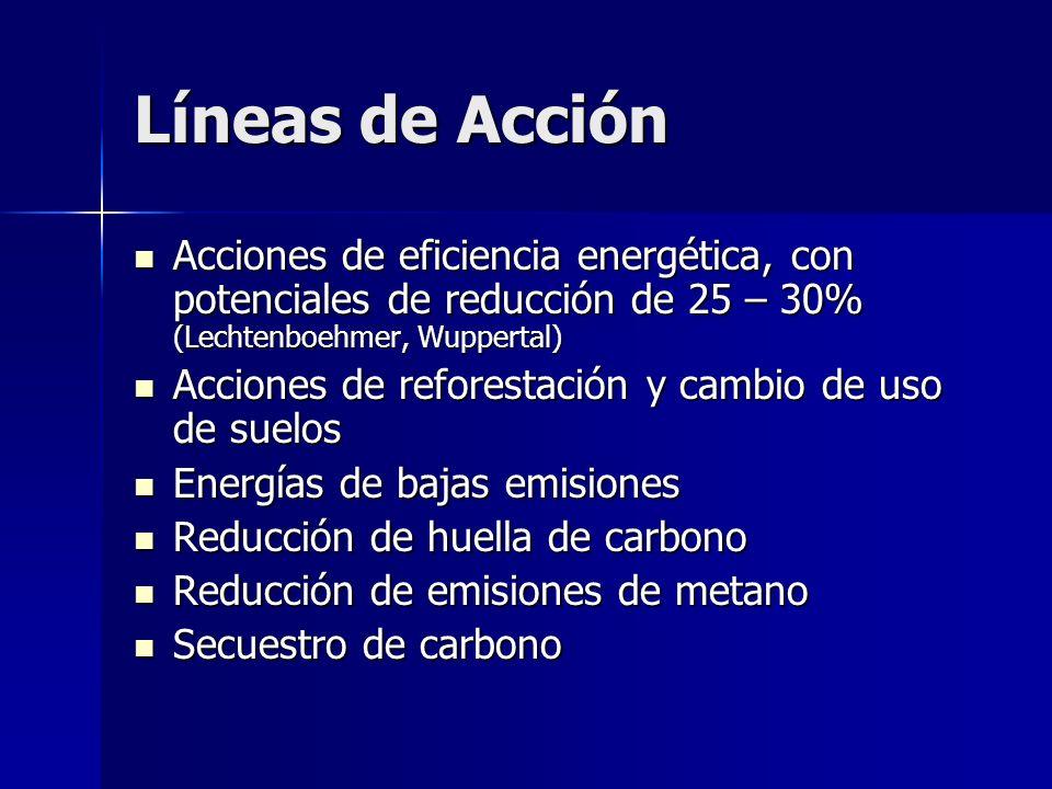 Líneas de Acción Acciones de eficiencia energética, con potenciales de reducción de 25 – 30% (Lechtenboehmer, Wuppertal) Acciones de eficiencia energé