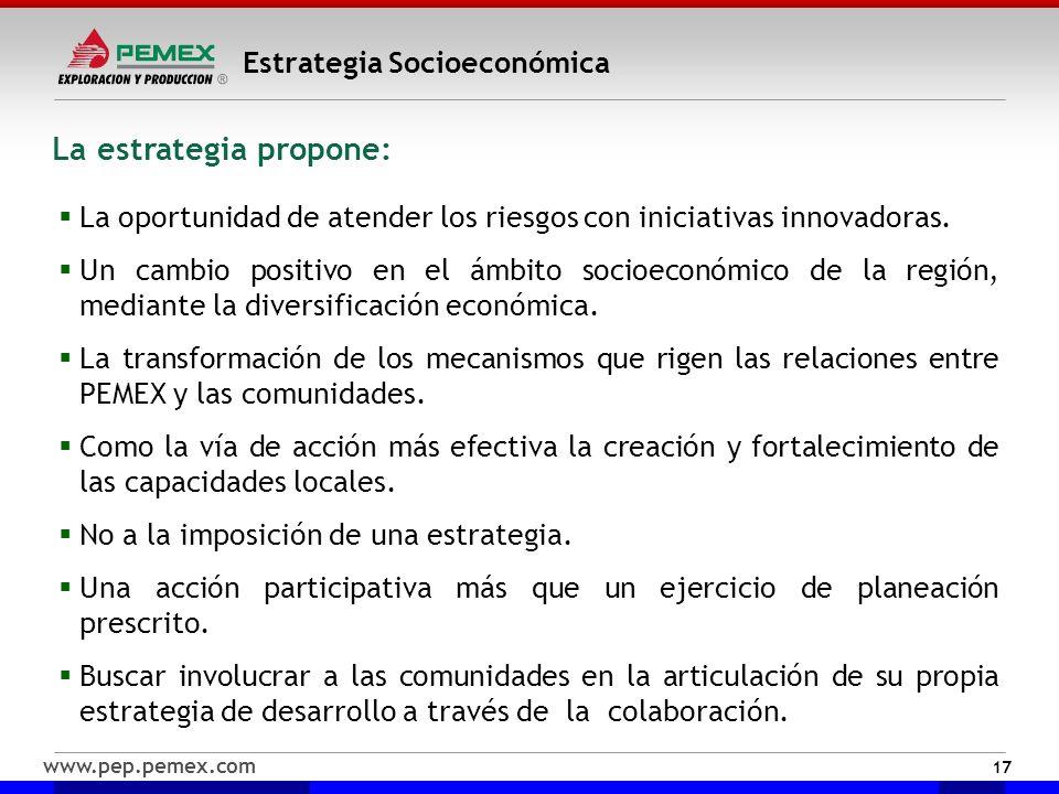 www.pep.pemex.com Estrategia Socioeconómica 17 La oportunidad de atender los riesgos con iniciativas innovadoras. Un cambio positivo en el ámbito soci