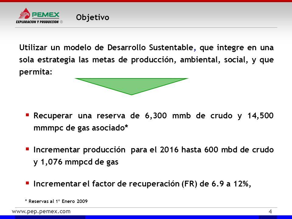 www.pep.pemex.com 4 Objetivo Utilizar un modelo de Desarrollo Sustentable, que integre en una sola estrategia las metas de producción, ambiental, soci