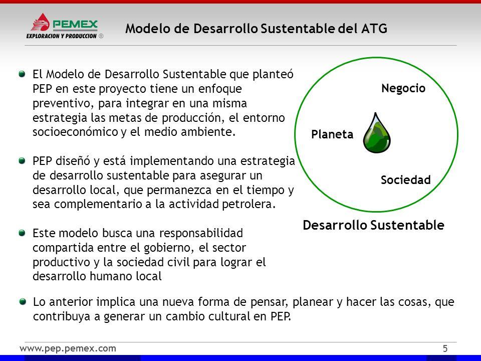 www.pep.pemex.com 5 Modelo de Desarrollo Sustentable del ATG El Modelo de Desarrollo Sustentable que planteó PEP en este proyecto tiene un enfoque pre