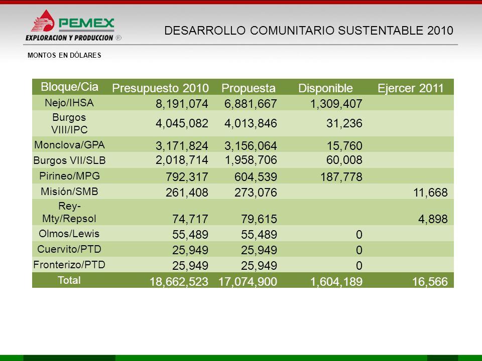 DESARROLLO COMUNITARIO SUSTENTABLE 2010 Bloque/Cia Presupuesto 2010PropuestaDisponibleEjercer 2011 Nejo/IHSA 8,191,0746,881,6671,309,407 Burgos VIII/I
