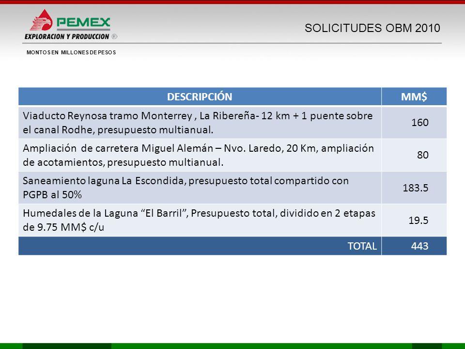 SOLICITUDES OBM 2010 DESCRIPCIÓNMM$ Viaducto Reynosa tramo Monterrey, La Ribereña- 12 km + 1 puente sobre el canal Rodhe, presupuesto multianual. 160