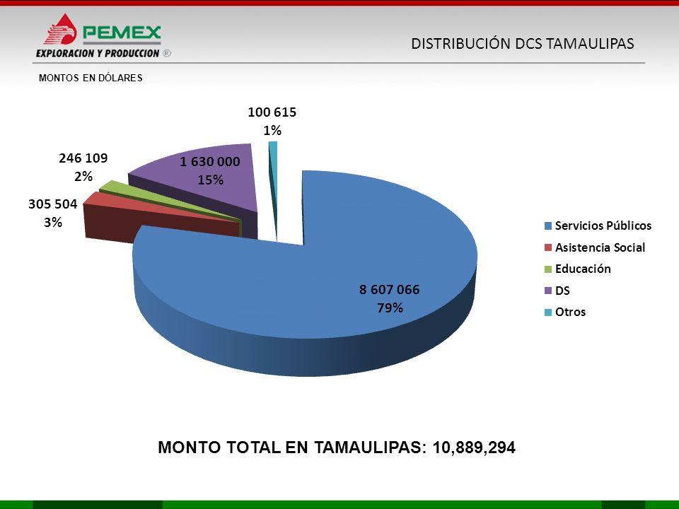 MONTOS EN DÓLARES MONTO TOTAL EN TAMAULIPAS: 10,889,294