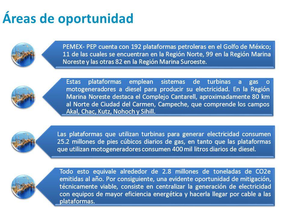 Áreas de oportunidad PEMEX- PEP cuenta con 192 plataformas petroleras en el Golfo de México; 11 de las cuales se encuentran en la Región Norte, 99 en