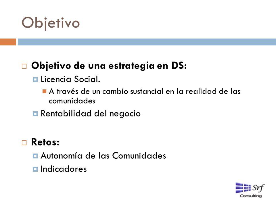 Objetivo Objetivo de una estrategia en DS: Licencia Social. A través de un cambio sustancial en la realidad de las comunidades Rentabilidad del negoci