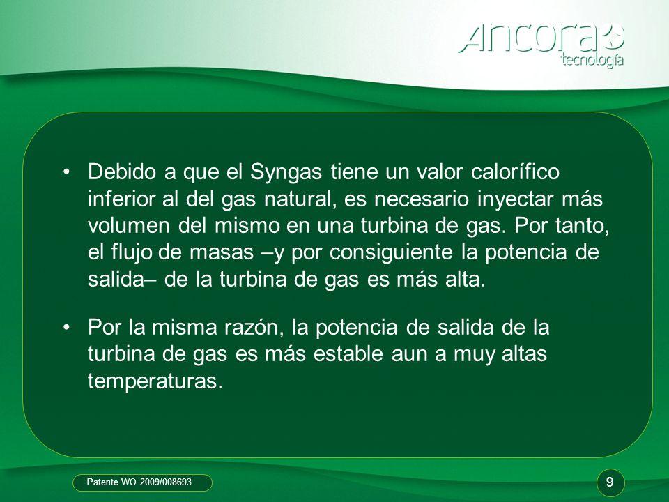 Patente WO 2009/008693 Debido a que el Syngas tiene un valor calorífico inferior al del gas natural, es necesario inyectar más volumen del mismo en un