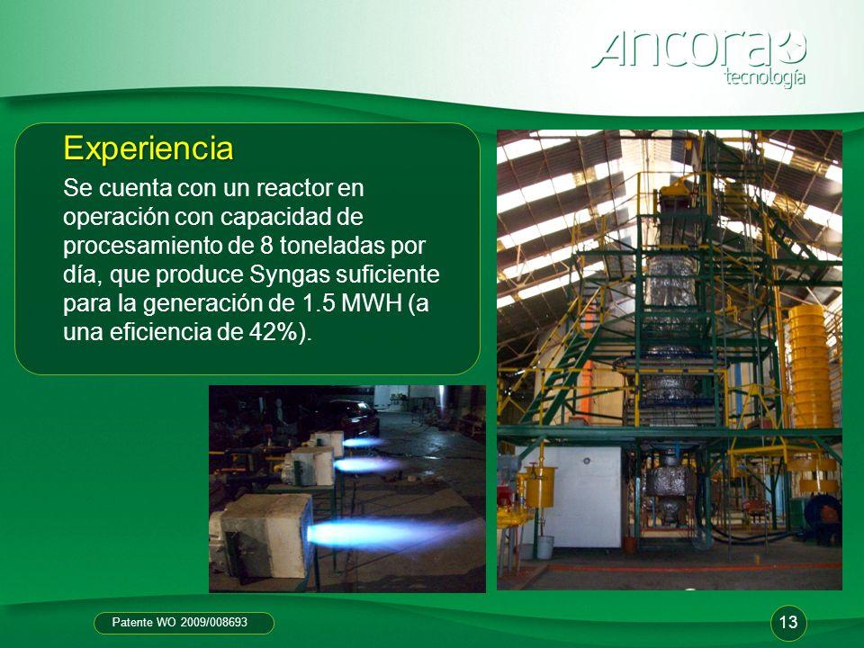 Patente WO 2009/008693 Experiencia Se cuenta con un reactor en operación con capacidad de procesamiento de 8 toneladas por día, que produce Syngas suf