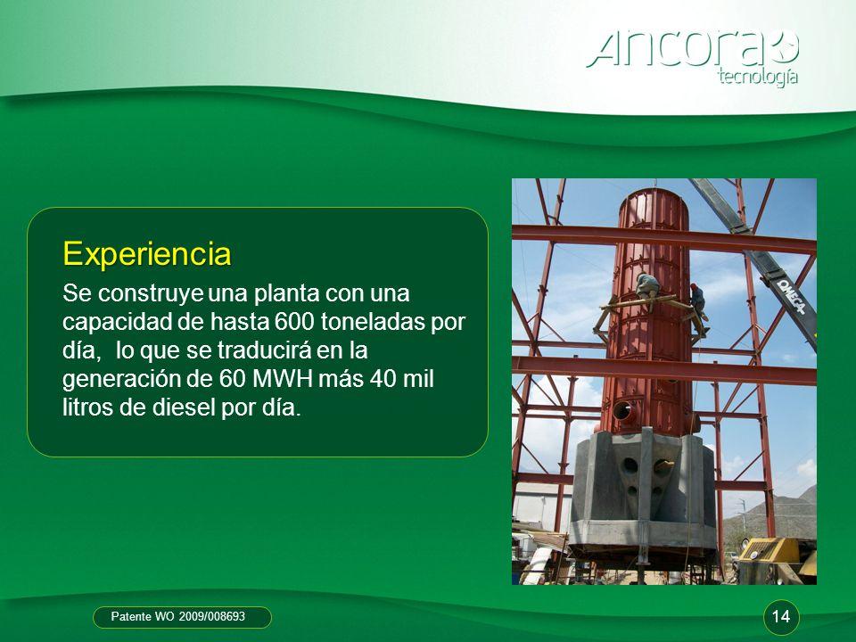 Patente WO 2009/008693 Experiencia Se construye una planta con una capacidad de hasta 600 toneladas por día, lo que se traducirá en la generación de 6