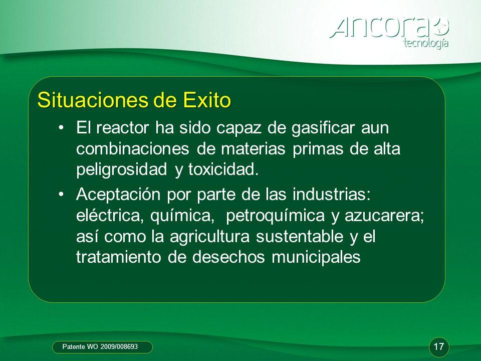 Patente WO 2009/008693 Situaciones de Exito El reactor ha sido capaz de gasificar aun combinaciones de materias primas de alta peligrosidad y toxicida