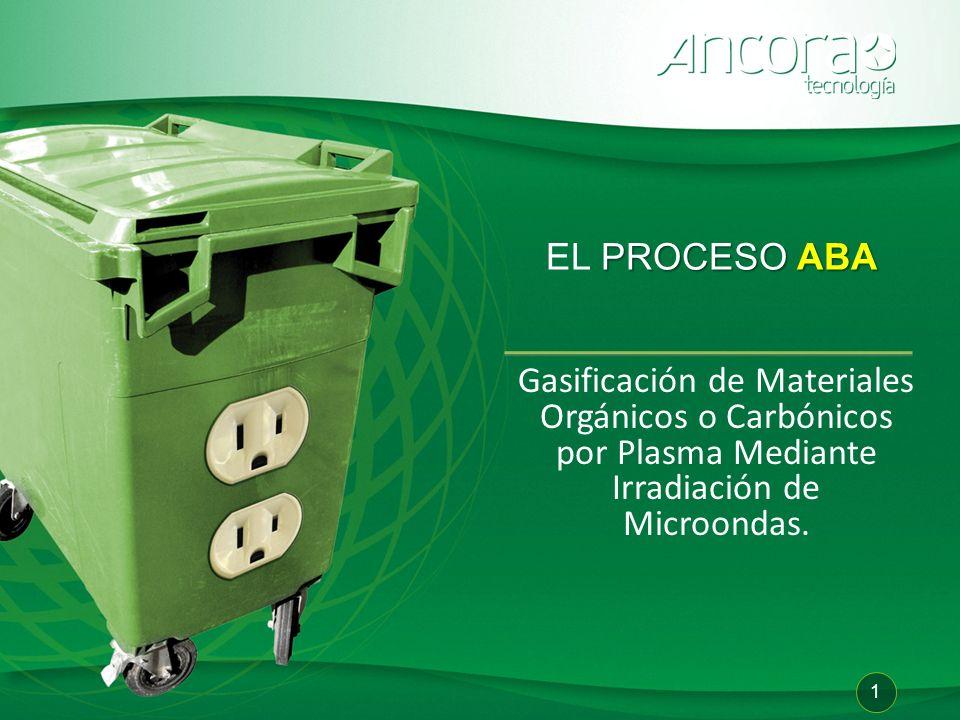 Patente WO 2009/008693 Gasificación de Materiales Orgánicos o Carbónicos por Plasma Mediante Irradiación de Microondas. PROCESOABA EL PROCESO ABA 1