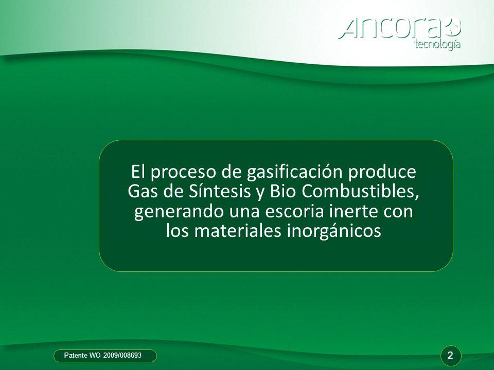 Patente WO 2009/008693 El proceso de gasificación produce Gas de Síntesis y Bio Combustibles, generando una escoria inerte con los materiales inorgáni