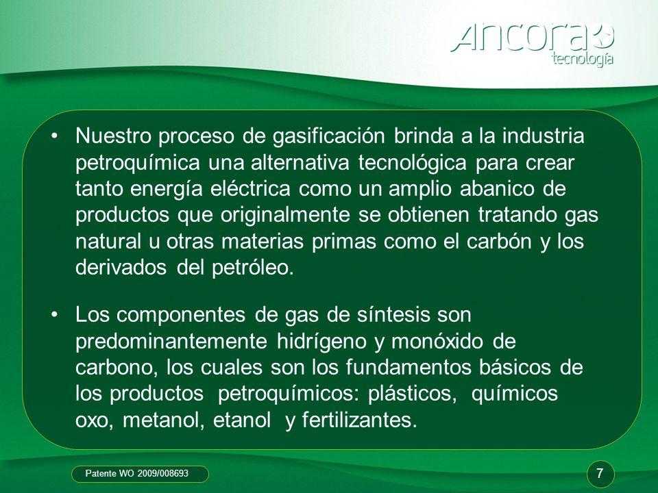 Patente WO 2009/008693 Nuestro proceso de gasificación brinda a la industria petroquímica una alternativa tecnológica para crear tanto energía eléctri