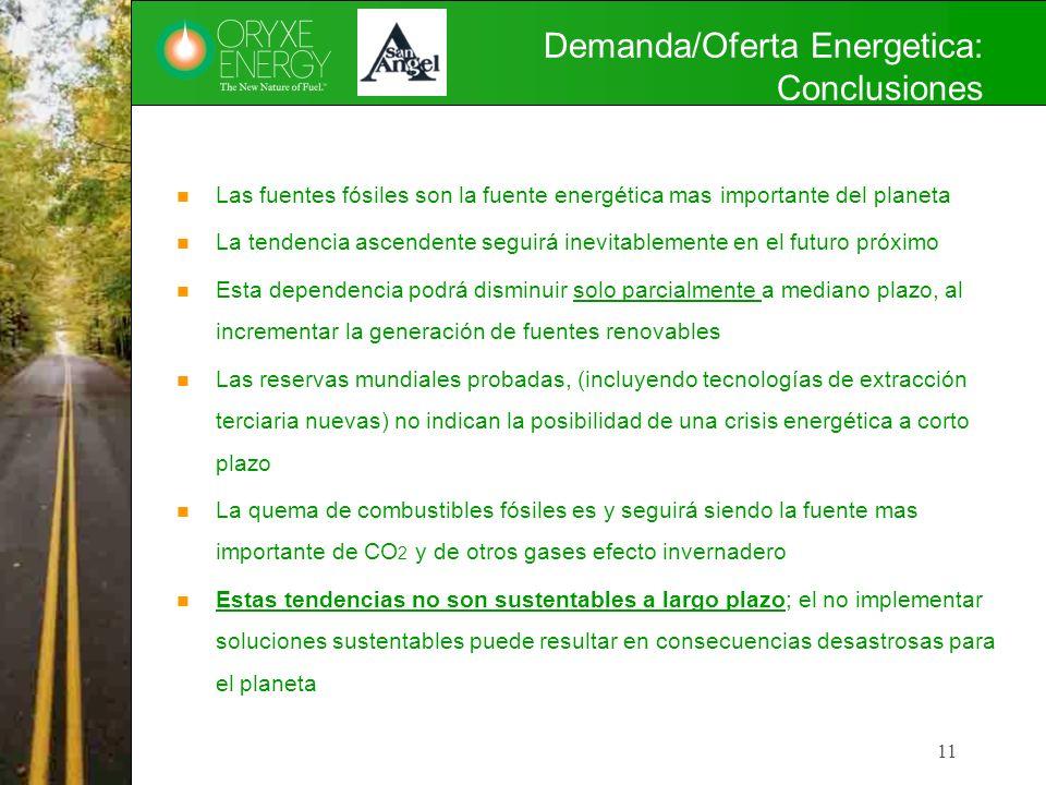 Demanda/Oferta Energetica: Conclusiones Las fuentes fósiles son la fuente energética mas importante del planeta La tendencia ascendente seguirá inevit
