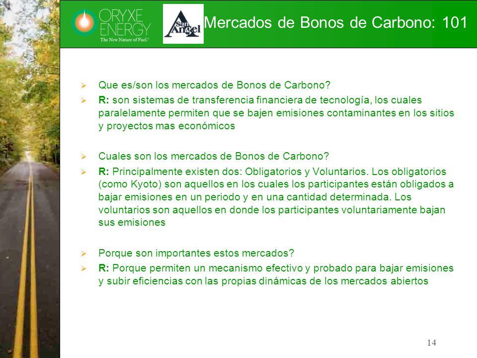 Mercados de Bonos de Carbono: 101 Que es/son los mercados de Bonos de Carbono? R: son sistemas de transferencia financiera de tecnología, los cuales p