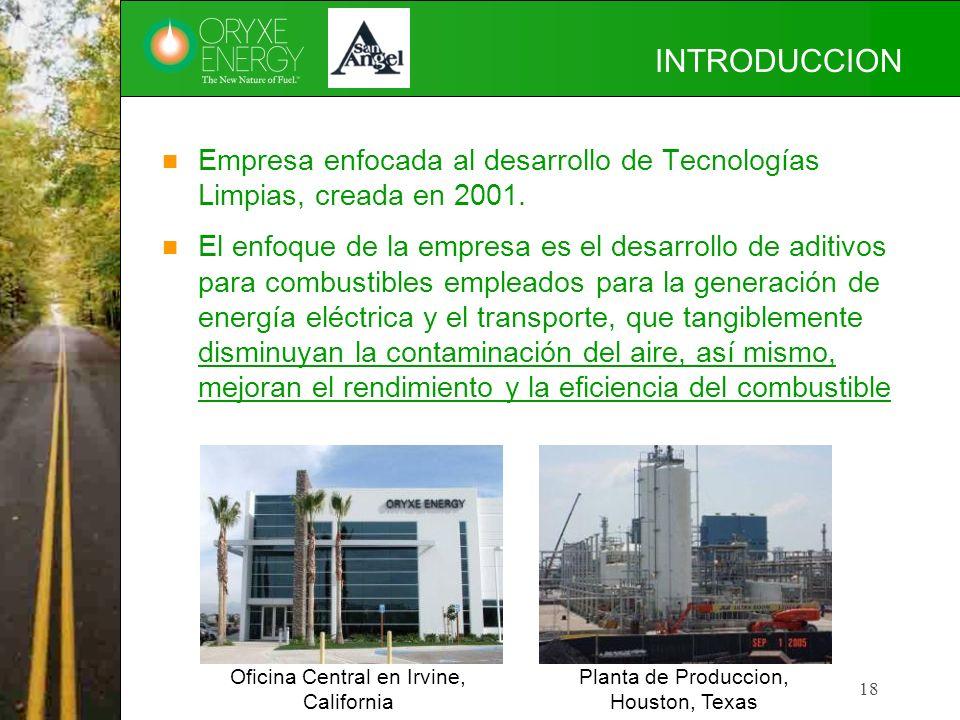 18 INTRODUCCION Empresa enfocada al desarrollo de Tecnologías Limpias, creada en 2001. El enfoque de la empresa es el desarrollo de aditivos para comb