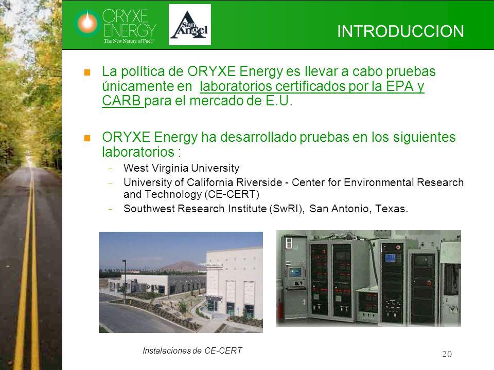 20 INTRODUCCION La política de ORYXE Energy es llevar a cabo pruebas únicamente en laboratorios certificados por la EPA y CARB para el mercado de E.U.