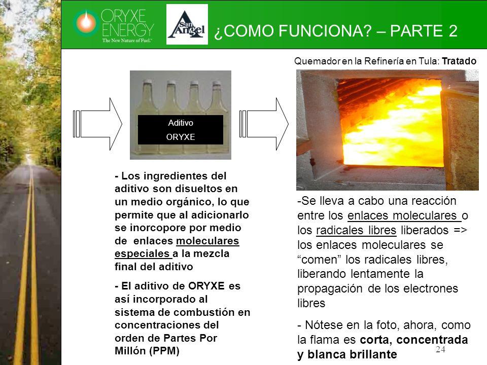 24 ¿COMO FUNCIONA? – PARTE 2 Aditivo ORYXE - Los ingredientes del aditivo son disueltos en un medio orgánico, lo que permite que al adicionarlo se ino