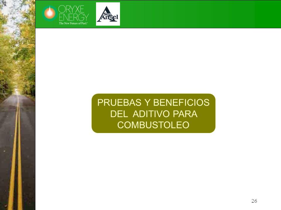 26 PRUEBAS Y BENEFICIOS DEL ADITIVO PARA COMBUSTOLEO