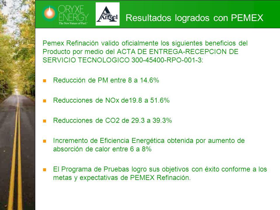 Resultados logrados con PEMEX Pemex Refinación valido oficialmente los siguientes beneficios del Producto por medio del ACTA DE ENTREGA-RECEPCION DE S