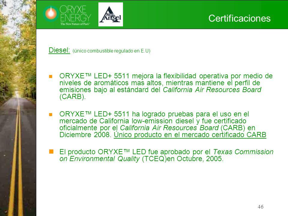 46 Certificaciones Diesel: (único combustible regulado en E.U) ORYXE LED+ 5511 mejora la flexibilidad operativa por medio de niveles de aromáticos mas