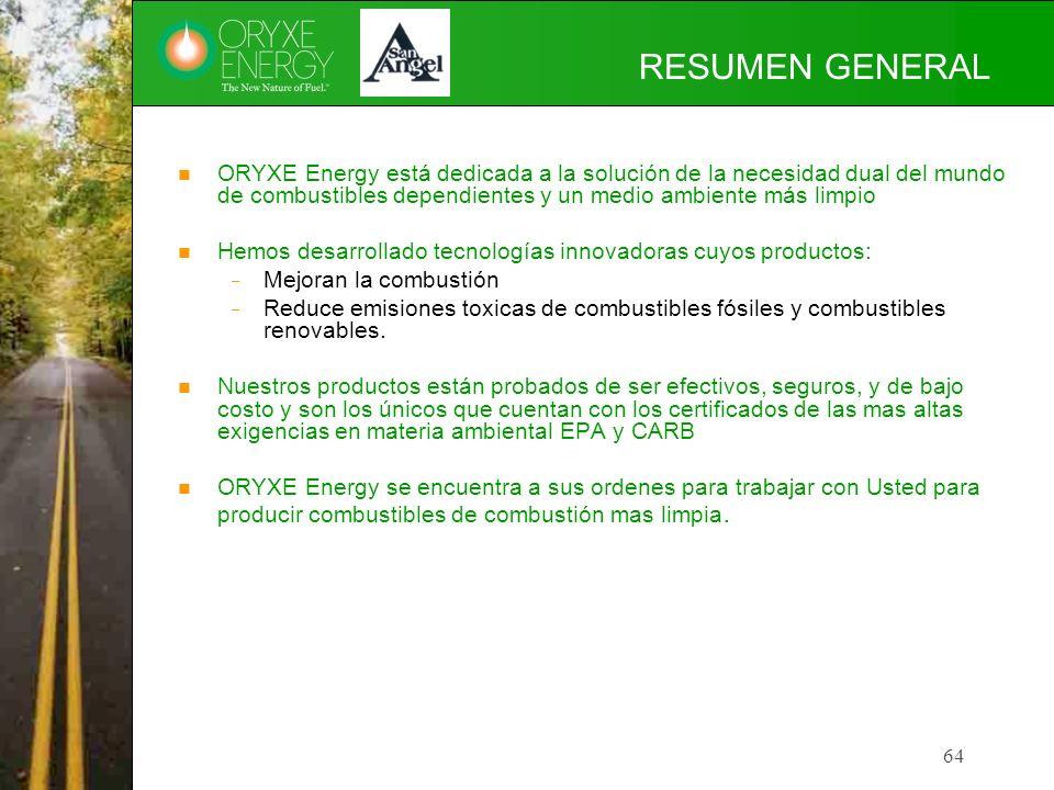 64 RESUMEN GENERAL ORYXE Energy está dedicada a la solución de la necesidad dual del mundo de combustibles dependientes y un medio ambiente más limpio