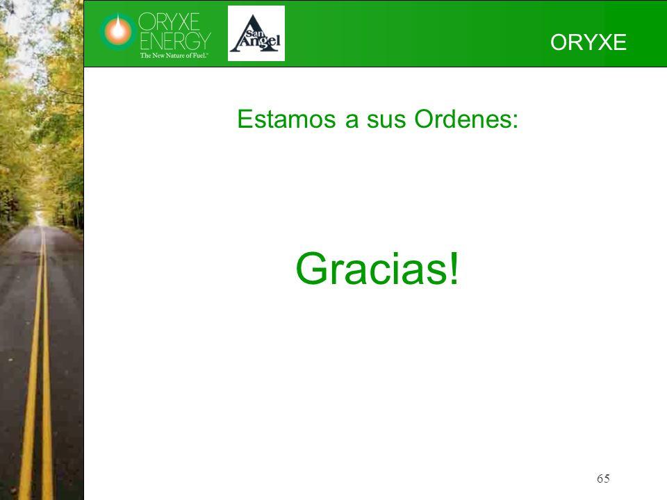 65 ORYXE Estamos a sus Ordenes: Gracias!