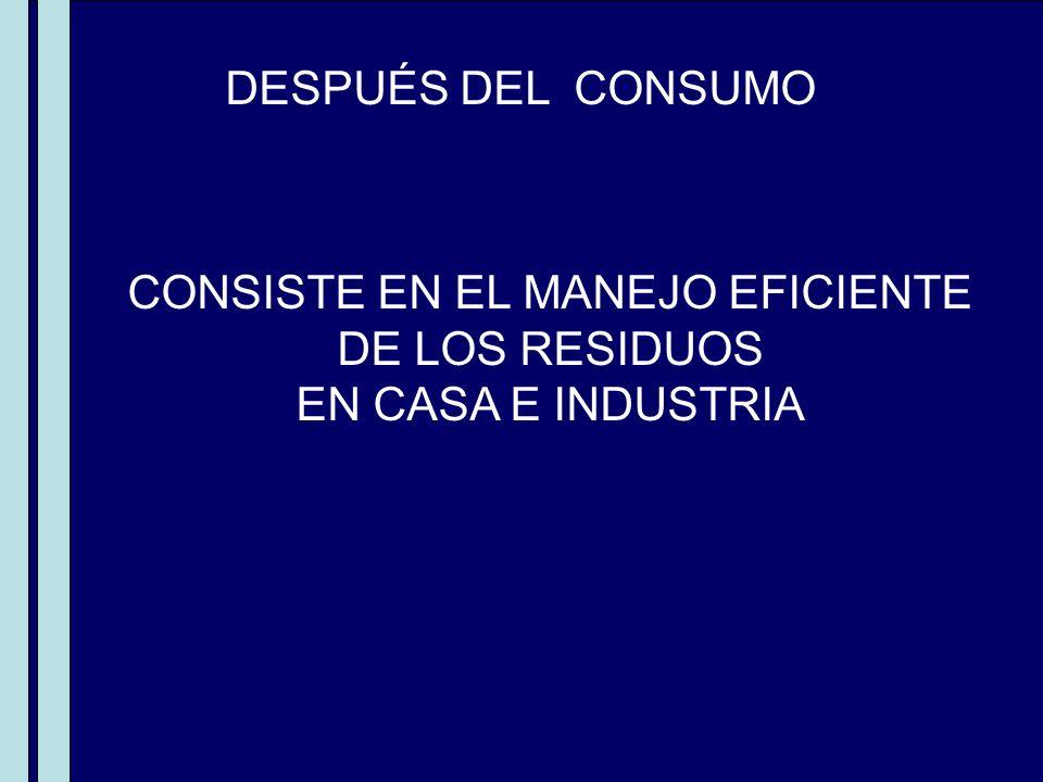MIENTRAS SE CONSUME DESPUÉS DEL CONSUMO CONSISTE EN EL MANEJO EFICIENTE DE LOS RESIDUOS EN CASA E INDUSTRIA