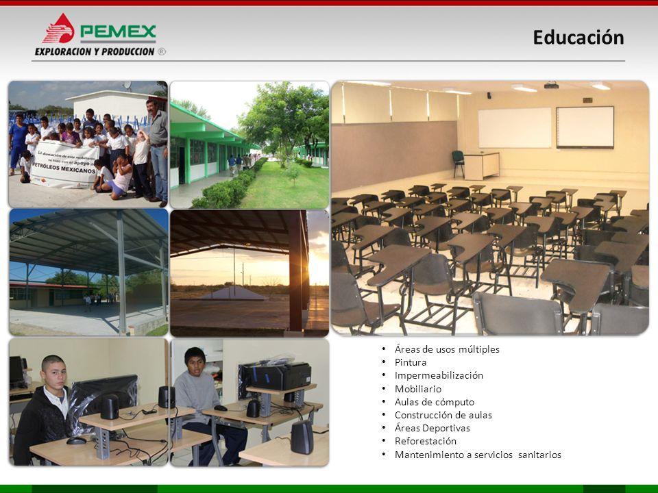 Áreas de usos múltiples Pintura Impermeabilización Mobiliario Aulas de cómputo Construcción de aulas Áreas Deportivas Reforestación Mantenimiento a servicios sanitarios Educación