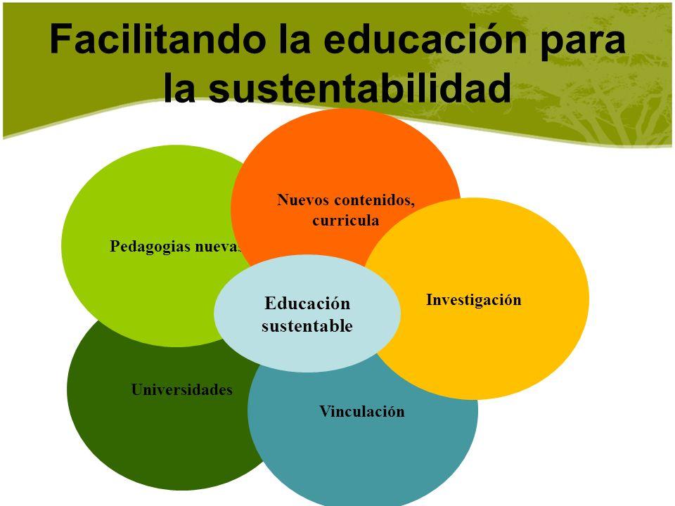 Facilitando la educación para la sustentabilidad Universidades Vinculación Pedagogias nuevas Nuevos contenidos, curricula Investigación Educación sust