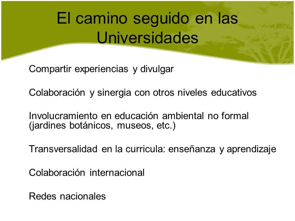 El camino seguido en las Universidades Compartir experiencias y divulgar Colaboración y sinergia con otros niveles educativos Involucramiento en educa