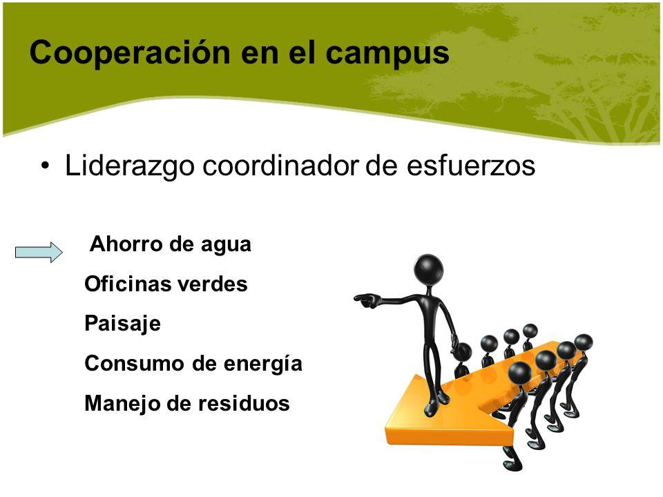 Ahorro de agua Oficinas verdes Paisaje Consumo de energía Manejo de residuos Cooperación en el campus Liderazgo coordinador de esfuerzos