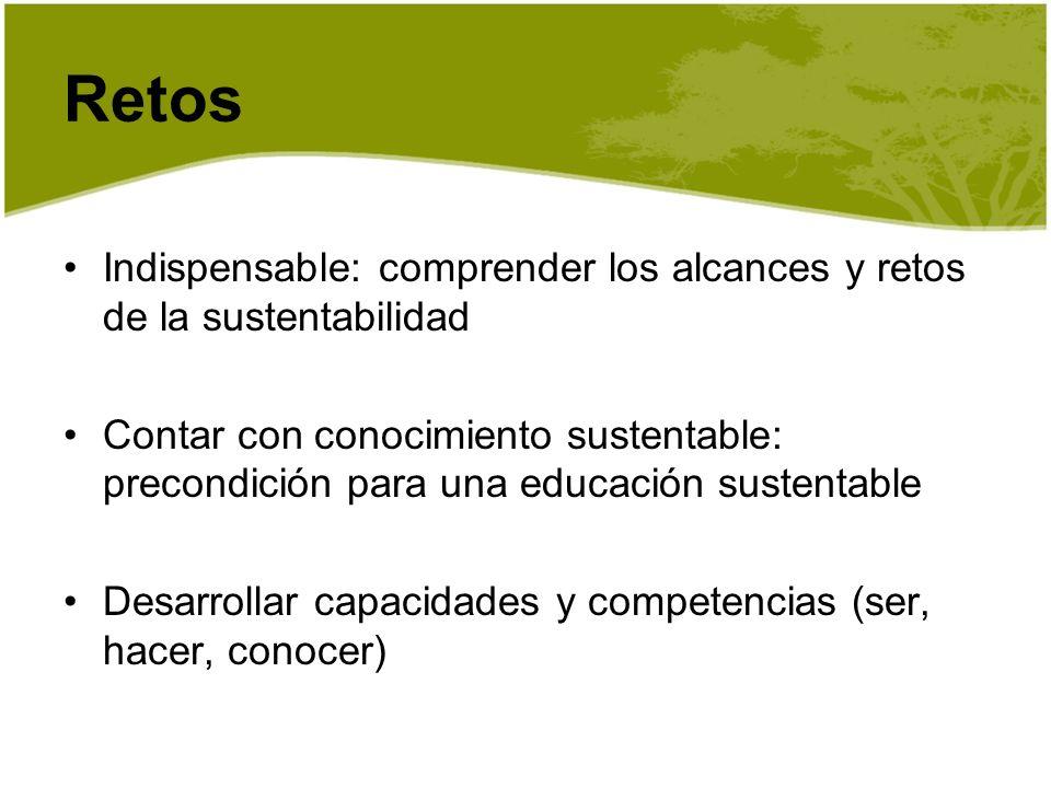 Indispensable: comprender los alcances y retos de la sustentabilidad Contar con conocimiento sustentable: precondición para una educación sustentable