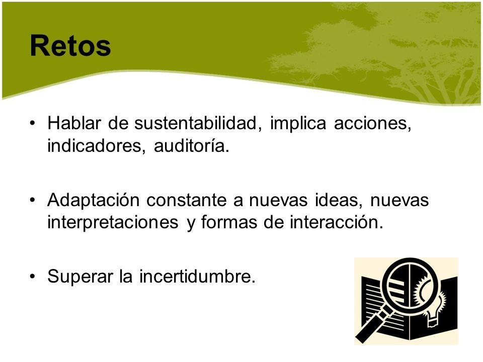Hablar de sustentabilidad, implica acciones, indicadores, auditoría. Adaptación constante a nuevas ideas, nuevas interpretaciones y formas de interacc